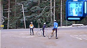 Bicycle riders dressed for winter riding