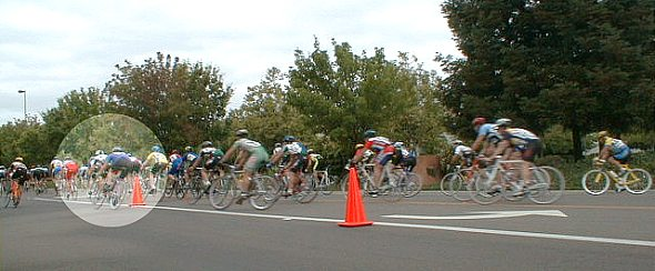 Rider highlighted for avoiding a cone in a race.