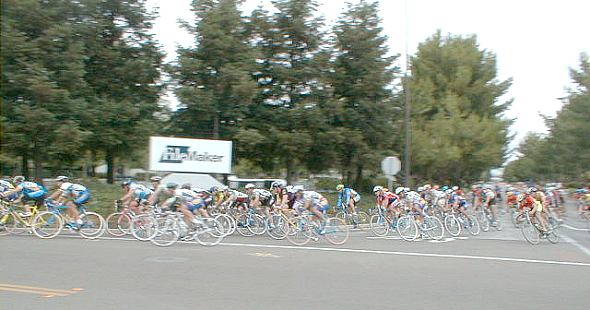 Pack of cyclist in a criterium race.